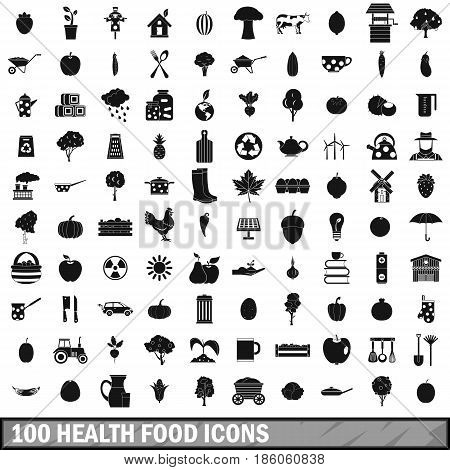 100 health food icons set in simple style for any design vector illustration