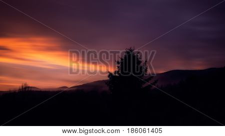 Sunset with view to the great Arber in Bavaria