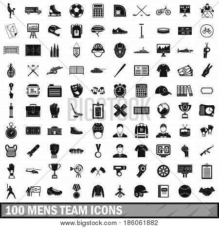 100 mens team icons set in simple style for any design vector illustration