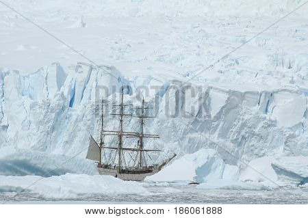Sailing boat in the ice in Antarctica