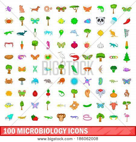100 microbiology icons set in cartoon style for any design vector illustration
