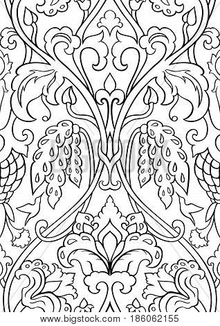 Black and white floral pattern. Seamless filigree ornament. Stylized template for wallpaper textile shawl carpet and any surface. Pattern with flowers and colibri.