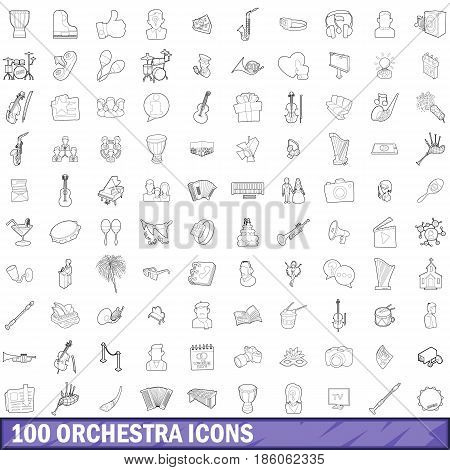 100 orchestra icons set in outline style for any design vector illustration