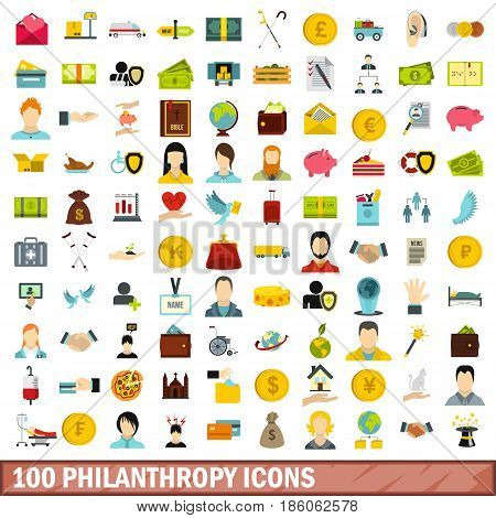 100 philanthropy icons set in flat style for any design vector illustration