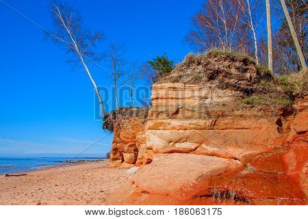Vidzeme Stony Seacoast. Baltic Sea coast. Kurmrags