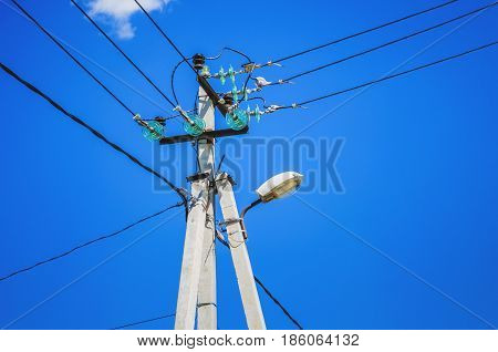 Tangle of Electrical Wires on Power Pole. Overhead power lines