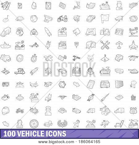 100 vehicle icons set in outline style for any design vector illustration