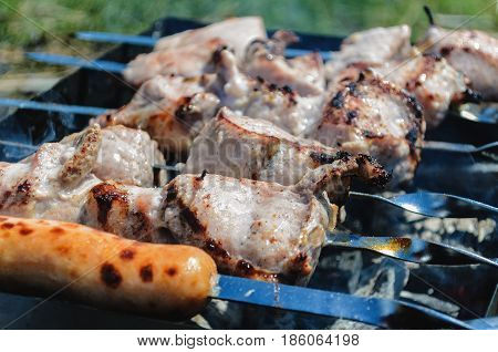 Marinated shashlik preparing on a barbecue grill over charcoal. Shish kebab on the grill. BBQ of fried meat on charcoal