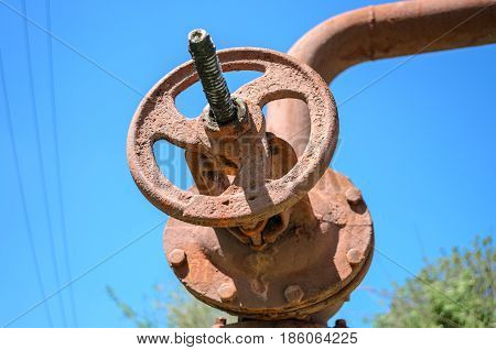 Big red valv. Industrial Oil or gas pipe line valves