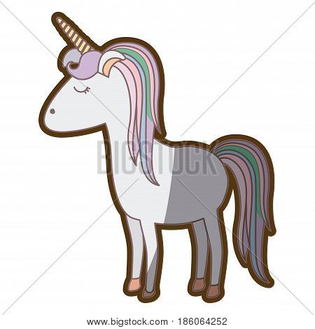 colorful thick contour of cartoon unicorn gray standing with closed eyes and rainbow mane vector illustration