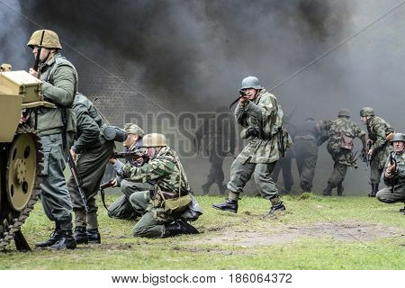 Swinoujscie Poland September 15 2012: Historical reconstruction of the Battle of the Second World War