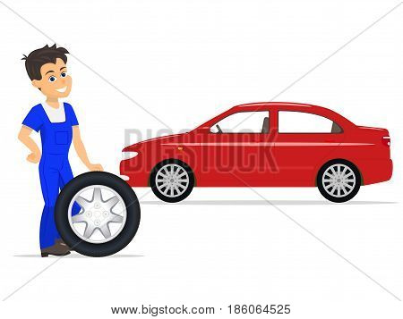 Vector illustration of a cartoon worker on the replacement of tires and wheels. Isolated white background. Auto mechanic in blue work clothes and with a wheel for the car. Service to replace tires.