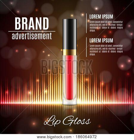Moisten lip gloss ads. Transparent glass container on a glitter background. 3d illustration. EPS10 vector