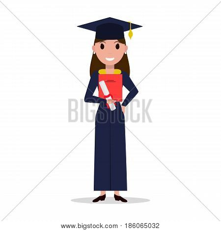 Vector cartoon student girl graduate. Isolated white background. Female character with square academic cap and diploma in hands. Woman received a degree, certificate, graduation. Flat style.