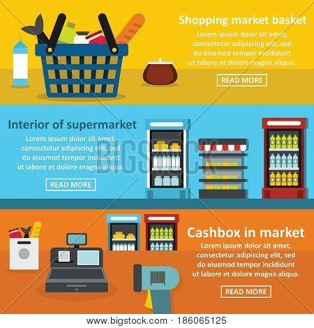 Supermarket interior banner horizontal concept set. Flat illustration of 3 supermarket interior vector banner horizontal concepts for web