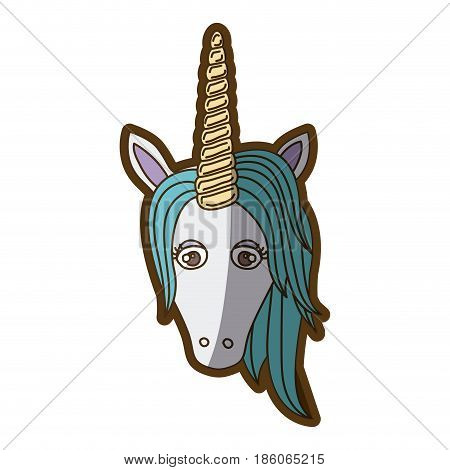 white background with front face of unicorn and blue mane and thick contour vector illustration