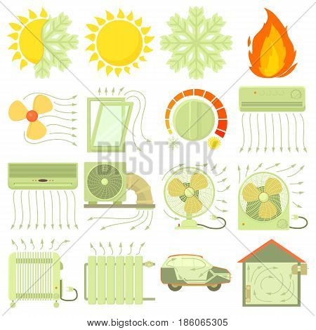 Heat cool air flow tools icons set. Cartoon illustration of 16 heat cool air flow tools vector icons for web