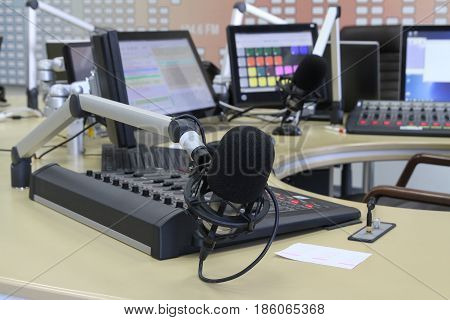 Radio Station. Microphone In A Recording Studio