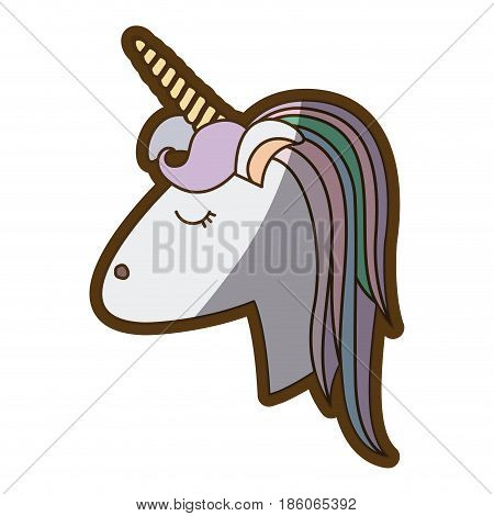 white background with face side view of female unicorn and color striped mane and thick contour vector illustration