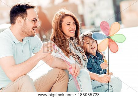 Happy family having fun.Happiness and love in family life. Happy family concept.