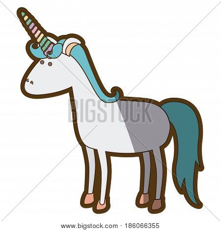 white background with cartoon unicorn standing with blue mane and thick contour vector illustration
