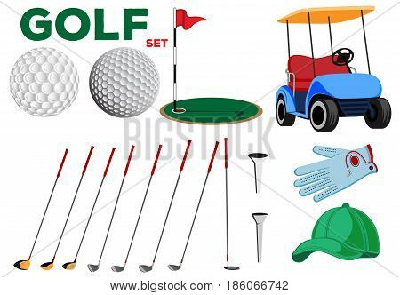 Vector color set of golf club design elements for use in various types of printing, elements of your design and the Internet
