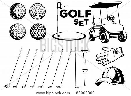 Vector black and white set of golf club design elements for use in various types of printing, elements of your design and the Internet