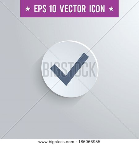 Stylish checkmark icon. Blue colored symbol on a white circle with shadow on a gray background. EPS10 with transparency.