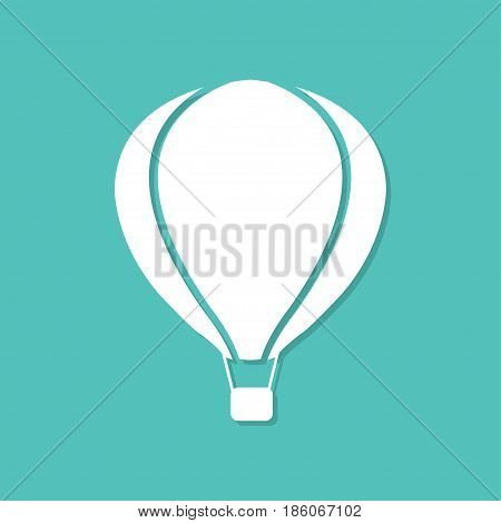 Hot air ballon icon with shadow in a flat design on a blue background