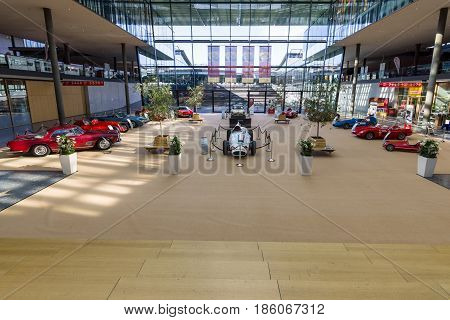 STUTTGART GERMANY - MARCH 02 2017: Exhibition pavilion with various retro cars. Europe's greatest classic car exhibition
