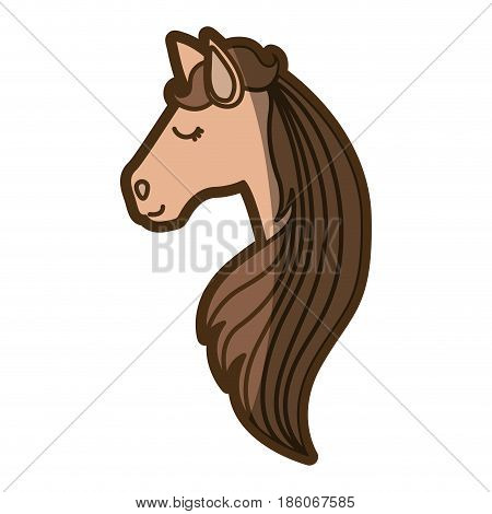 brown clear silhouette of face side view of female horse with long striped mane vector illustration