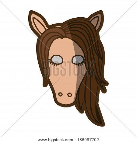 brown clear silhouette of front face of female horse with closed eyes and mane vector illustration