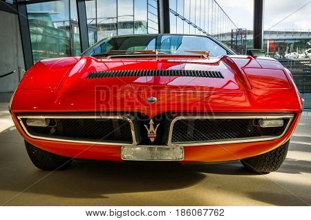 STUTTGART GERMANY - MARCH 02 2017: Sports car Maserati Bora (Tipo 117) 1971. Europe's greatest classic car exhibition