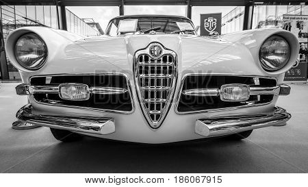 STUTTGART GERMANY - MARCH 02 2017: Sports car Alfa Romeo 1900C Super Sprint Coupe Lugano 1957. Black and white. Europe's greatest classic car exhibition