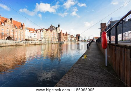 old town of Gdansk - embankment of Motlawa with colorful houses, Gdansk, Poland
