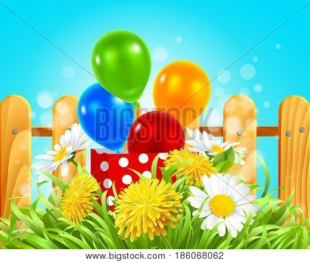 Vector illustration of a box with balloons in the grass with daisies, dandelions and camomile