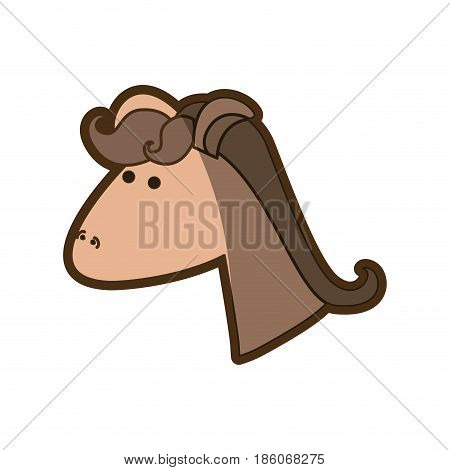 brown clear silhouette of face side view of female horse with mane vector illustration