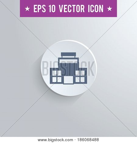 Stylish office building icon. Blue colored symbol on a white circle with shadow on a gray background. EPS10 with transparency.
