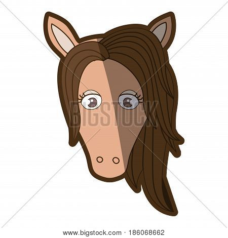 brown clear silhouette of front face of female horse with mane vector illustration