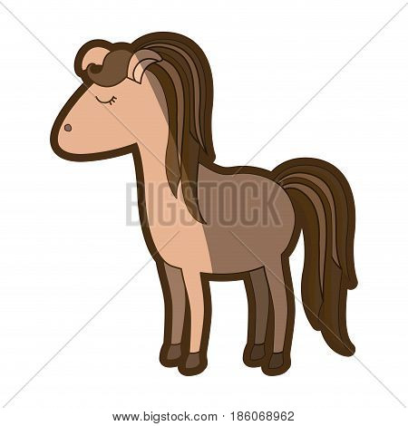 brown clear silhouette of cartoon female horse with striped mane and tail vector illustration