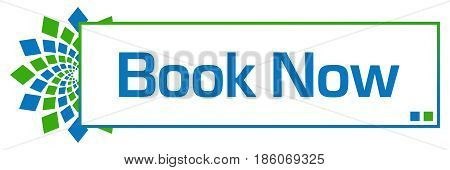 Book now text written over green blue background.