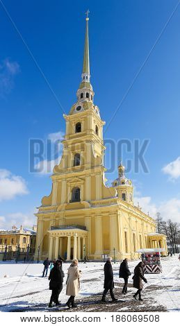 Saint Peter And Paul Cathedral At Saint Petersburg, Russia