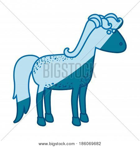 blue silhouette of cartoon female horse with mane and tail vector illustration
