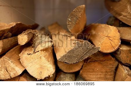 stove heating and wood fuel concept - firewood
