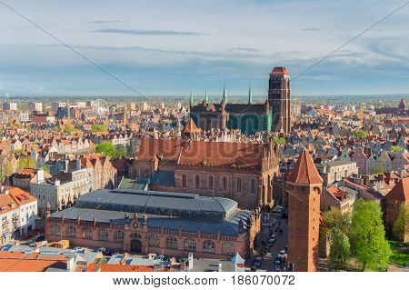Cityscape of Gdansk with st Mary cathedral church, Gdansk, Poland