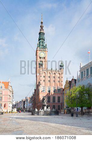 City Hall of Gdansk and Long street Dluga , Gdansk, Poland