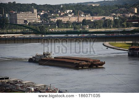Marine barge floating on the river Danube in Belgrade