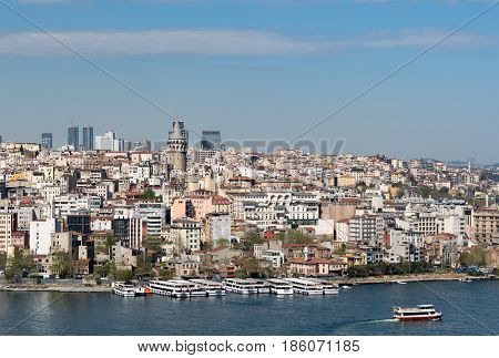 Istanbul Turkey - April 19 2017: City view from Suleymaniye Mosque overlooking the Golden Horn with Galata Tower in the background