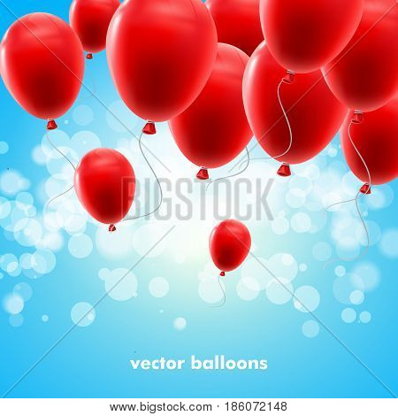 Vector festive illustration of flying realistic glossy balloons. Red balloon bunch. Decoration element for holiday event invitation design