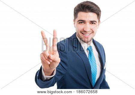 Young Lawyer Or Salesman Showing Victory Sign